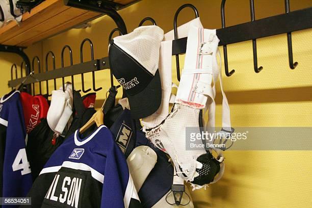 A jock strap is shown in the Primus Worldstars locker room on December 21 2004 at the Olso Spektrum in Oslo Norway