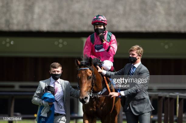 Jocket Cieren Fallon poses on Oxted after victory in the July Cup at Newmarket Racecourse in Suffolk on July 11 2020 Cieren Fallon showed he has...