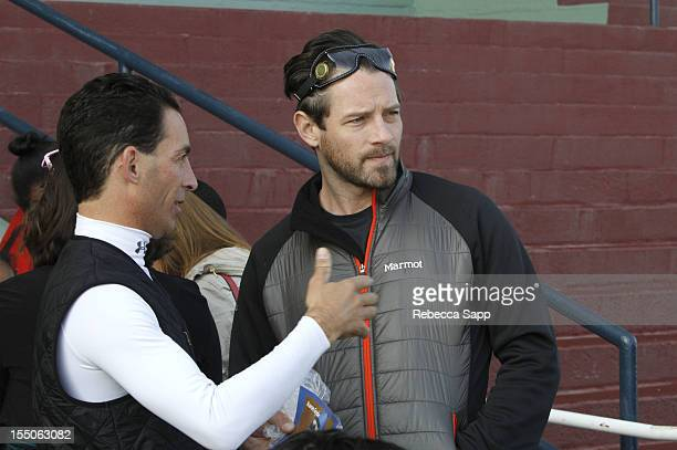 Jockey Aaron Gryder and actor Ian Bohen at Children Mending Hearts Kids' Breakfast at the Track Event at Santa Anita Park on October 31 2012 in...