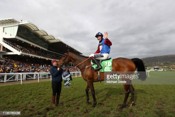 Jockey Aidan Coleman celebrates as he rides Paisley Park after victory in the Sun Racing Stayers' Hurdle during St Patrick's Thursday at Cheltenham...