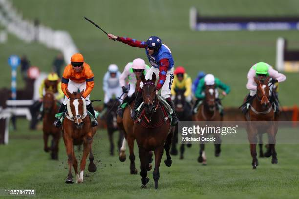 Jockey Aidan Coleman celebrates as he rides Paisley Park to victory in the Sun Racing Stayers' Hurdle during St Patrick's Thursday at Cheltenham...