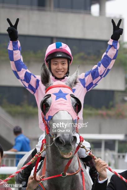 KONG OCTOBER Jockey Alex Lai Hoiwing riding Aurelian wins Race 2 Dr G Handicap at Sha Tin racecourse on October 12 2008 in Hong Kong