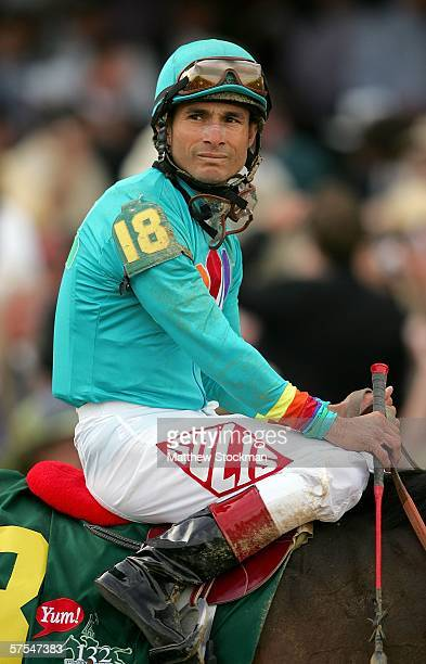 Jockey Alex Solis sits atop Brother Derek after the 132nd Kentucky Derby on May 6 2006 at Churchill Downs in Louisville Kentucky