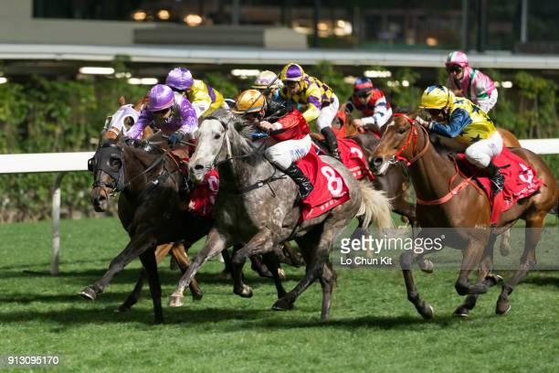 Jockey Alexis Badel riding Bold Stitch wins the Race 8 Tai Hang Tung Handicap at Happy Valley Racecourse on January 31 2018 in Hong Kong Hong Kong