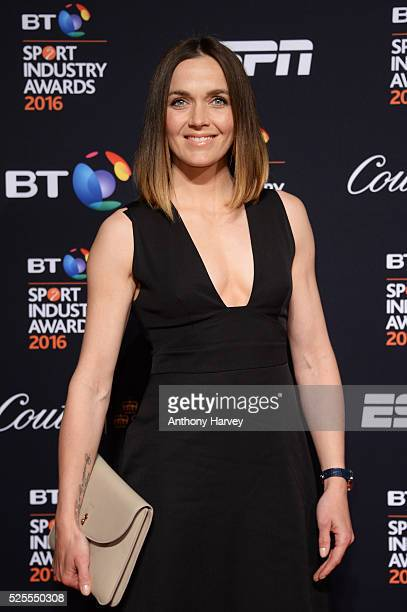 Jockey and former cyclist Victoria Pendleton poses on the red carpet at the BT Sport Industry Awards 2016 at Battersea Evolution on April 28 2016 in...