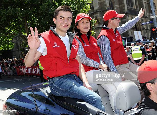 Jockey Andrea Atzeni and trainer Roger Varian attend the 2014 Melbourne Cup parade on November 3 2014 in Melbourne Australia