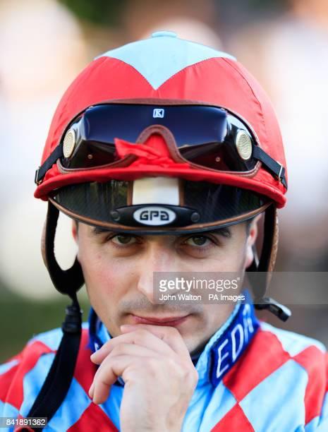 Jockey Andrea Atzeni at Sandown Park Racecourse Esher