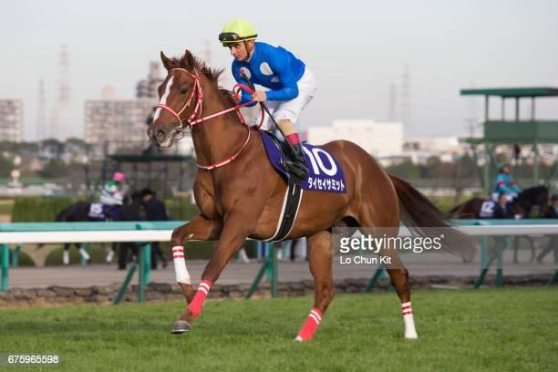 Jockey Andrea Atzeni riding Taisei Summit during the Asahi Hai Futurity Stakes at Hanshin Racecourse on December 20 2015 in Takarazuka Japan