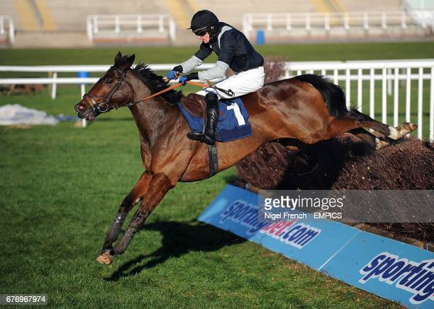 Jockey Andrew Glassonbury on Altilhar takes a jump during the Sanderson Weatherall Barbara E Birthday Novices' Handicap Chase