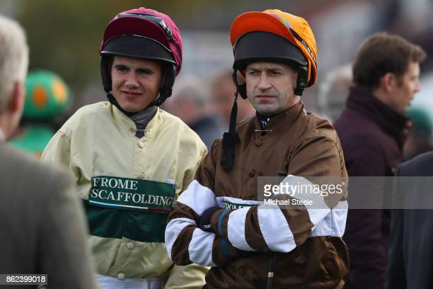 Jockey Andrew Thornton alongside Daniel Sansom ahead of his ride on Kentford Myth following his return to the saddle after a ten month injury lay off...