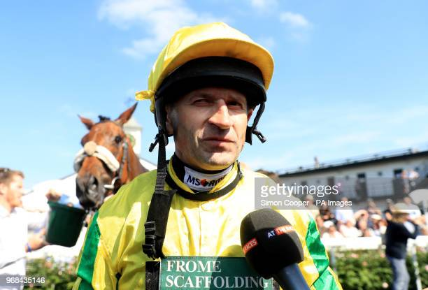 Jockey Andrew Thornton in the parade ring after his final race as a jockey at Uttoxeter Racecourse