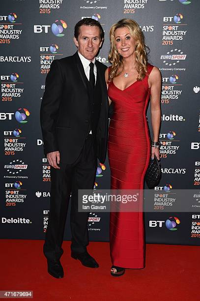 Jockey AP McCoy and wife Chanelle pose on the red carpet at the BT Sport Industry Awards 2015 at Battersea Evolution on April 30 2015 in London...