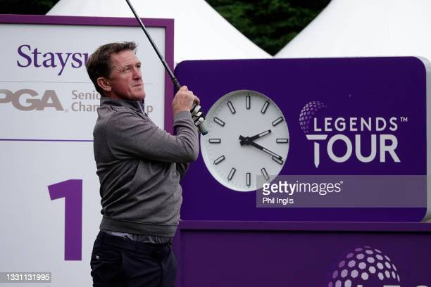 Jockey, A.P. McCoy in action during the ProAm ahead of the Staysure PGA Seniors Championship at Formby Golf Club on July 28, 2021 in Formby, England.