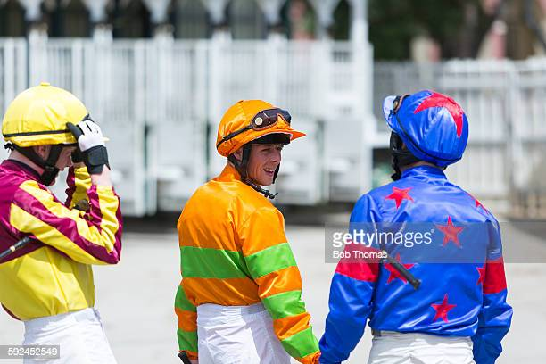 Jockeys at a Racecourse