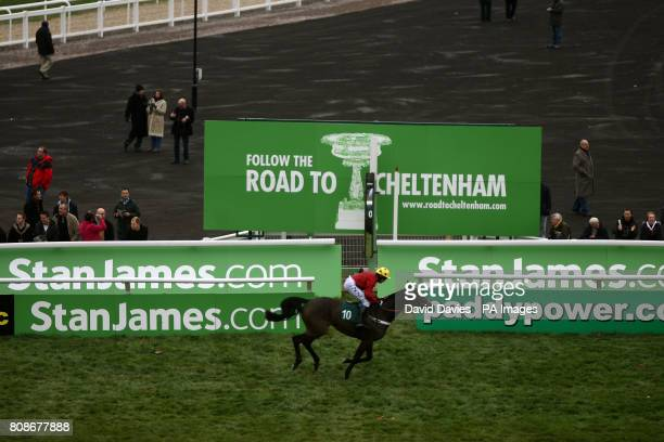 Jockey Barry Geraghty on Tanks For That comes home to take second place in the Jenny Mould Memorial Handicap Chase