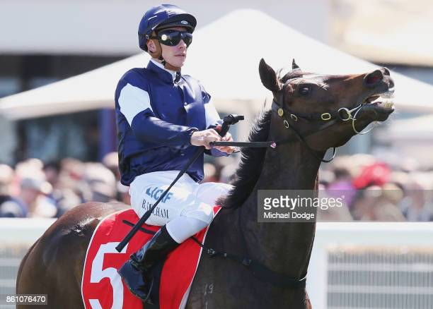Jockey Ben Melham returns to scale on Aloft after winning his finishing last in race 4 the Ladbrokes Herbert Power Stakes during Melbourne Racing on...