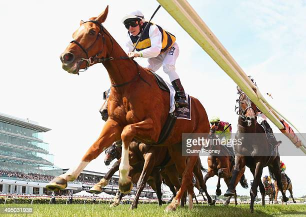 Jockey Ben Melham riding Gailo Chop wins race 6 The Longines Mackinnon Stakes on Derby Day at Flemington Racecourse on October 31 2015 in Melbourne...