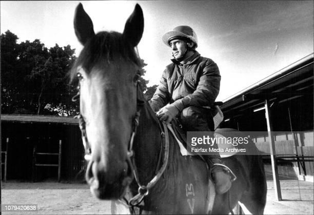 Jockey Bill Sorensen with Star Karou at Randwick after training this morning June 08 1989