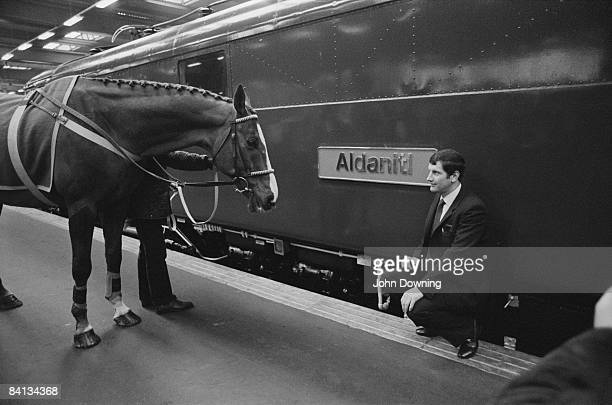 Jockey Bob Champion with his horse Aldaniti at Euston Station in London March 1984