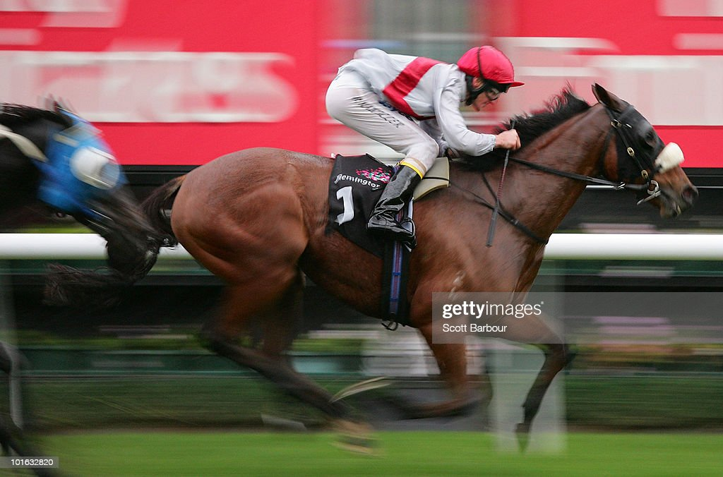 Jockey Brad Rawiller rides Red Buttons to win race 8 the Eugene Gorman Handicap during David Bourke Provincial Plate Day at Flemington Racecourse on June 5, 2010 in Melbourne, Australia.