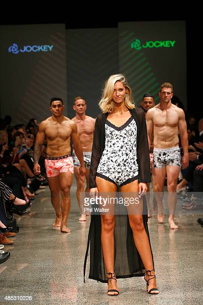 Jockey Brand Ambassador Nikki Phillips walks with All Blacks and All Black Sevens players in the Jockey show at New Zealand Fashion Week 2015 on...