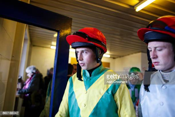 Jockey Bryan Cooper in the Ann Alan Potts colours at Ludlow racecourse on October 11 2017 in Ludlow England