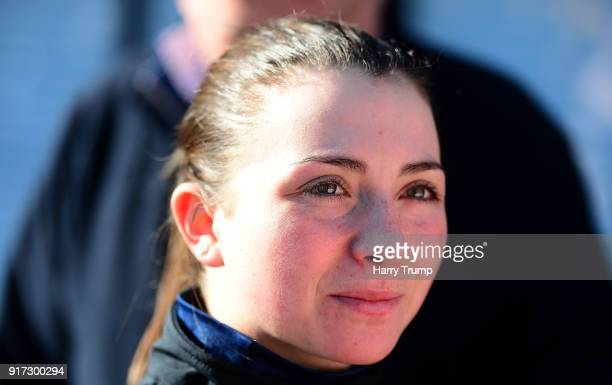 Jockey Bryony Frost addresses the media at Manor Farm Stables on February 12 2018 in Ditcheat Somerset