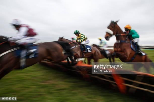 Jockey Bryony Frost in action at Huntingdon racecourse on February 8 2018 in Huntingdon England