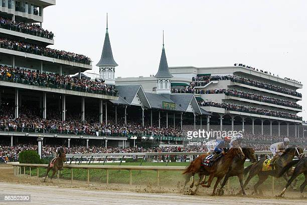 Jockey Calvin Borel atop Mine That Bird rounds turn one in last place during the 135th running of the Kentucky Derby on May 2 2009 at Churchill Downs...