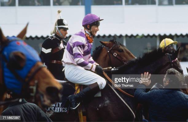 Jockey Carl Llewellyn on Party Politics at the Grand National at Aintree Racecourse Liverpool 4th April 1992 They went on to win the race