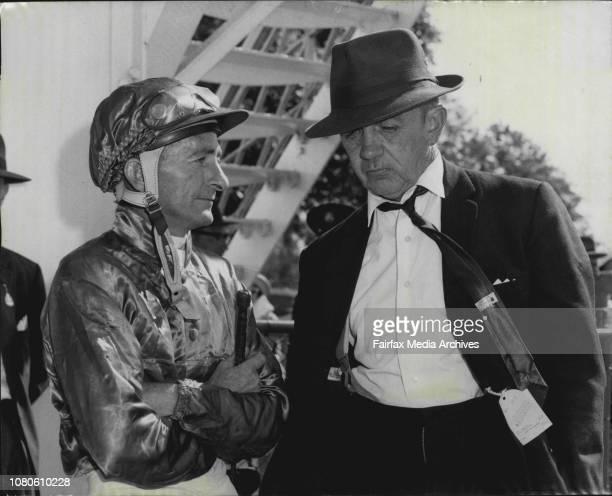 Jockey Cassidy and Trainer S Beattie Festivus race 5 February 26 1964