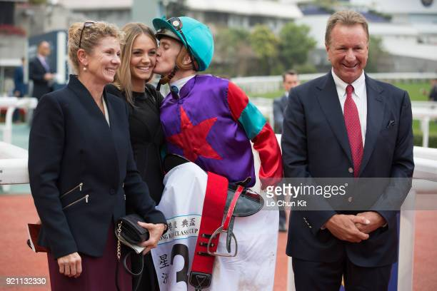 KONG FEBRUARY Jockey Chad Schofield kissing Hannah Butler after Singapore Sling winning Race 9 The Hong Kong Classic Cup at Sha Tin racecourse on...