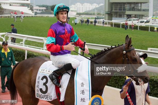 KONG FEBRUARY Jockey Chad Schofield riding Singapore Sling wins Race 9 The Hong Kong Classic Cup at Sha Tin racecourse on February 18 2018 in Hong...