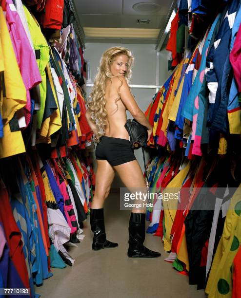 Jockey Chantal Sutherland is photographed for People Magazine on March 24 2006 at Gulfstream Park in Hallandale Florida