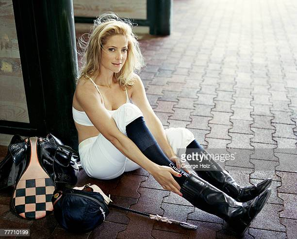 Jockey Chantal Sutherland is photographed for People Magazine on March 24 2006 at Gulfstream Park in Hallandale Florida PUBLISHED IMAGE