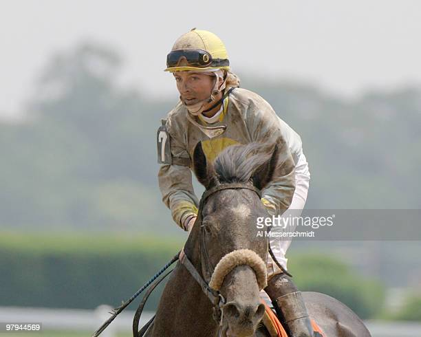 Jockey Chantal Sutherland rides What Else in the first race at Belmont Park in Elmont New York site of the 2005 Belmont Stakes on June 11 2005