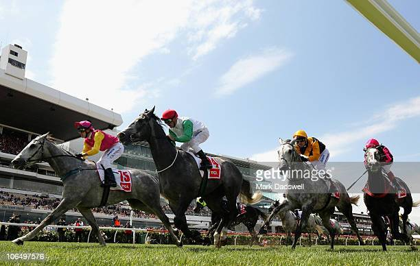 Jockey Chris Symons riding King Cobweb wins Race Five the TCL Electronics Plate during Crown Oaks Day at Flemington Racecourse on November 4 2010 in...