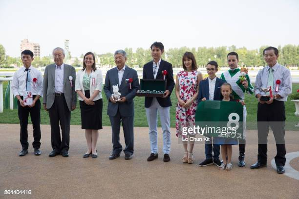 Jockey Christophe Lemaire and owners celebrate after Epoisses winning Race 11 Keeneland Cup at Sapporo Racecourse on August 27 2017 in Sapporo...