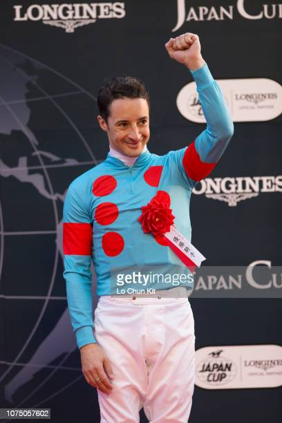 Jockey Christophe Lemaire celebrates after Almond Eye winning the Japan Cup at Tokyo Racecourse on November 25 2018 Almond Eye's Japan Cup run of...