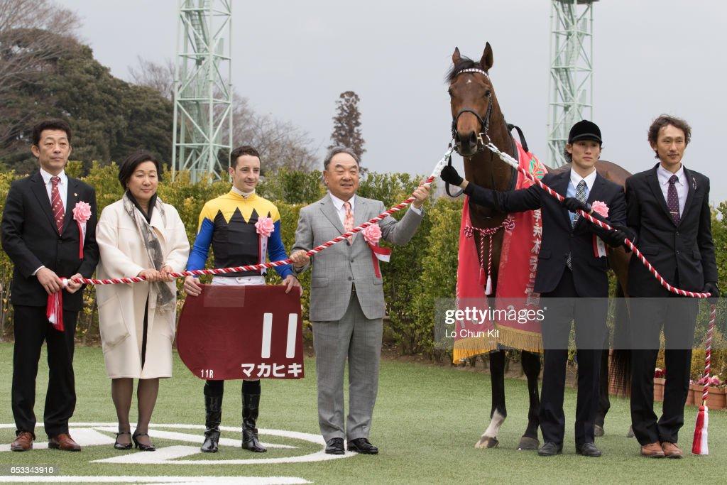 Jockey Christophe Lemaire, owner Makoto Kaneko, trainer Yasuo Tomomichi celebrate after Makahiki wins the Race 11 Yayoi Sho - Japanese 2000 Guineas Trial (G2 2000m) at Nakayama Racecourse on March 6, 2016 in Funabashi, Chiba, Japan.