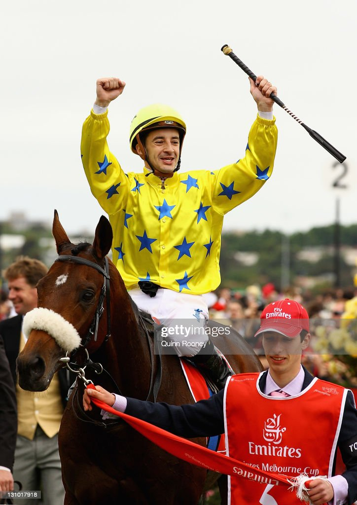 Jockey Christophe Lemaire riding Dunaden celebrates winning the Emirates Melbourne Cup during Melbourne Cup Day at Flemington Racecourse on November 1, 2011 in Melbourne, Australia.