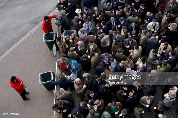 Jockey Club stewards keeping racegoers penned in the Arkle bar during day four of the Cheltenham National Hunt Racing Festival at Cheltenham...