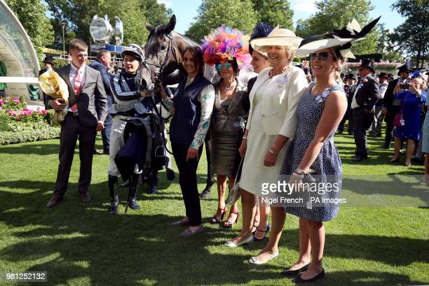 Jockey Colm O'Donoghue after winning the Coronation Stakes on Alpha Centauri during day four of Royal Ascot at Ascot Racecourse