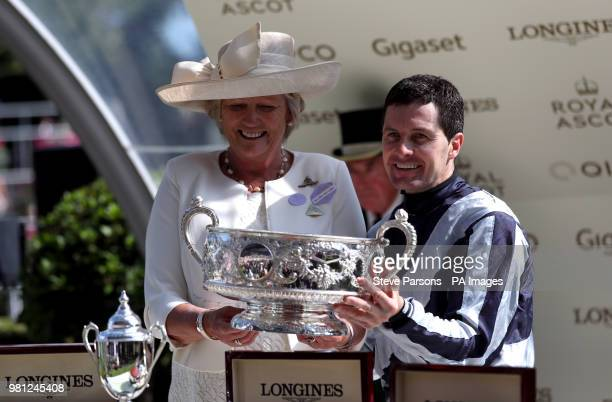 Jockey Colm O'Donoghue after winning the Coronation Stakes with Alpha Centauri during day four of Royal Ascot at Ascot Racecourse