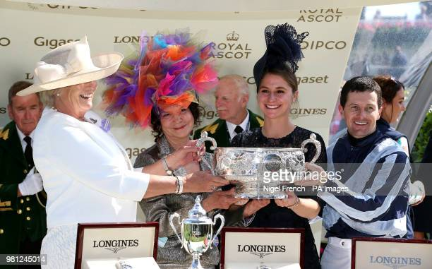 Jockey Colm O'Donoghue and trainer Jessica Harrington after winning the Coronation Stakes with Alpha Centauri during day four of Royal Ascot at Ascot...