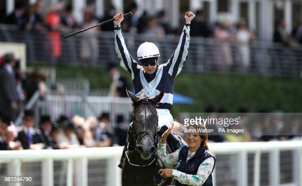 Jockey Colm O'Donoghue celebrates winning the Coronation Stakes on Alpha Centauri during day four of Royal Ascot at Ascot Racecourse