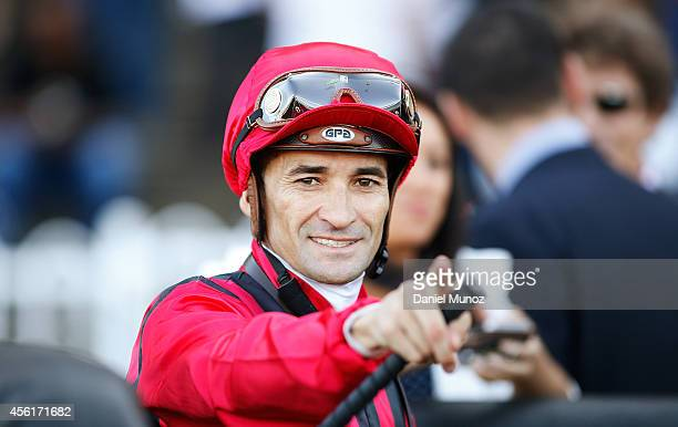 Jockey Corey Brown reacts after winning Race 6 'Its Betting Season At Tab Shannon Stakes' during Sydney Racing at Rosehill Gardens on September 27...