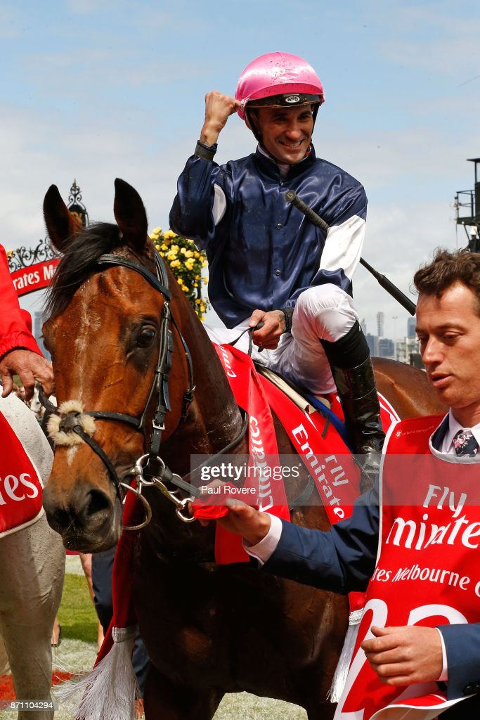 Jockey Corey Brown returns to scale on Rekindling after winning race 7, the Emirates Melbourne Cup, during Melbourne Cup Day at Flemington Racecourse on November 7, 2017 in Melbourne, Australia.