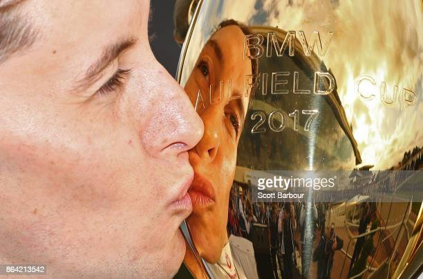 Jockey Cory Parish kisses the Caulfield Cup after riding Boom Time to win race 8 The BMW Caulfield Cup during Caulfield Cup Day at Caulfield...