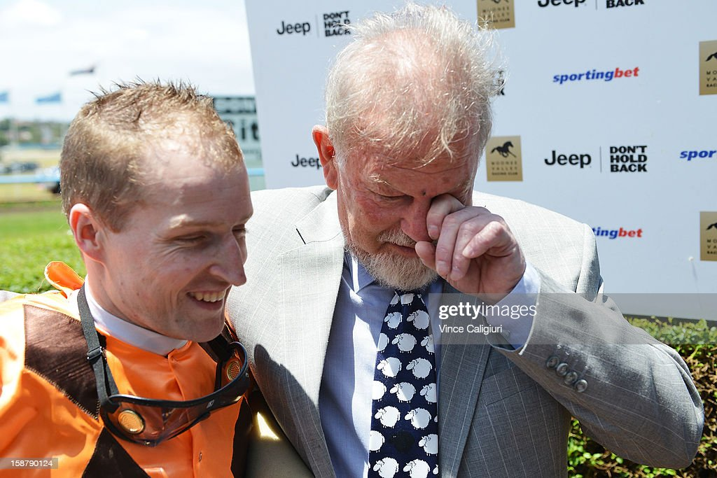 Jockey Craig Newitt and trainer Rick Hore-Lacy after win of Clevadude in the Sportingbet Plate during Melbourne racing at Moonee Valley Racecourse on December 29, 2012 in Melbourne, Australia.